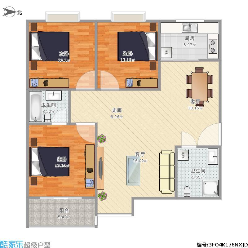 125方三室两厅