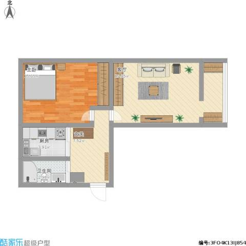 二七剧场路东里甲82号1室1厅1卫1厨72.00㎡户型图