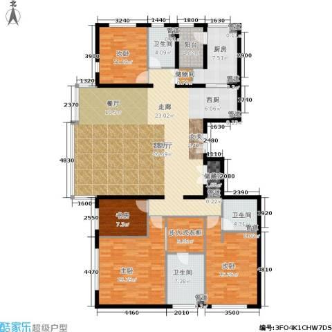 招商嘉铭・珑原4室1厅3卫1厨215.00㎡户型图