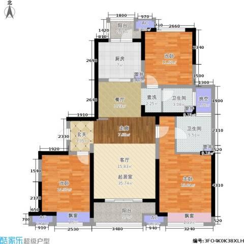 中建溪岸澜庭3室0厅2卫1厨125.00㎡户型图