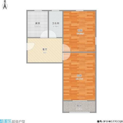 六里二村2室1厅1卫1厨70.00㎡户型图