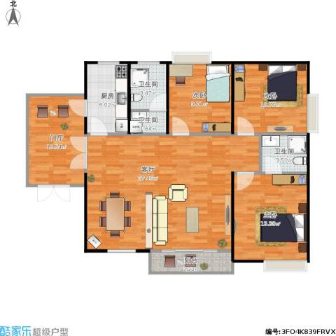 清风华园3室1厅3卫1厨133.00㎡户型图