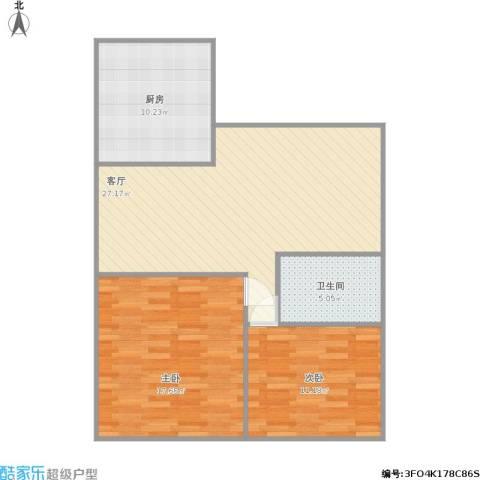 龙辉花园2室1厅1卫1厨95.00㎡户型图