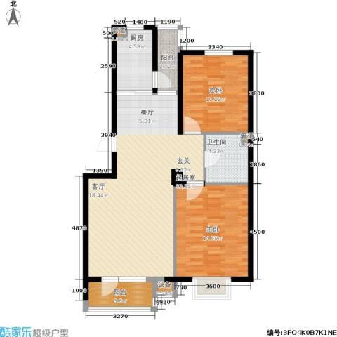 保利上林湾2室0厅1卫1厨93.00㎡户型图