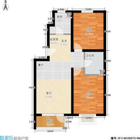 保利上林湾2室0厅1卫1厨85.00㎡户型图