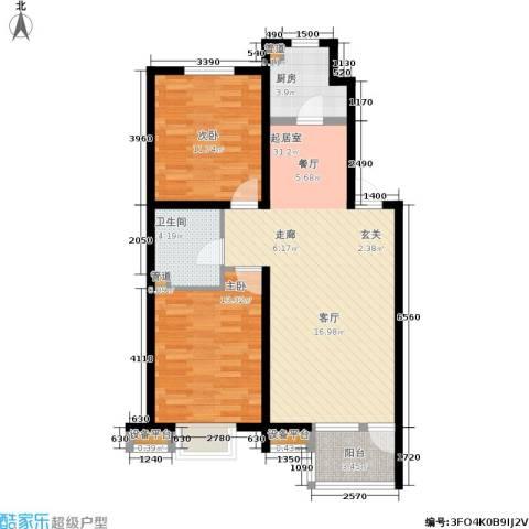 保利上林湾2室0厅1卫1厨88.00㎡户型图