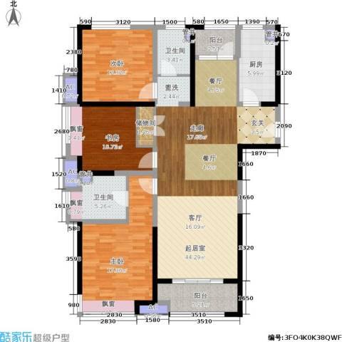 中建溪岸澜庭3室0厅2卫1厨128.00㎡户型图