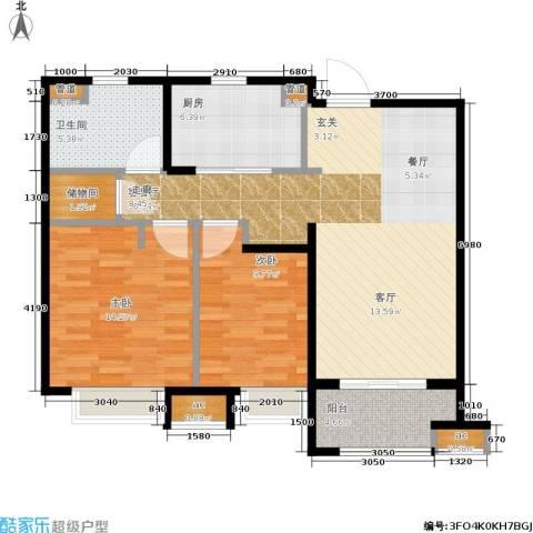 万科中环国际城海上传奇2室1厅1卫1厨85.00㎡户型图