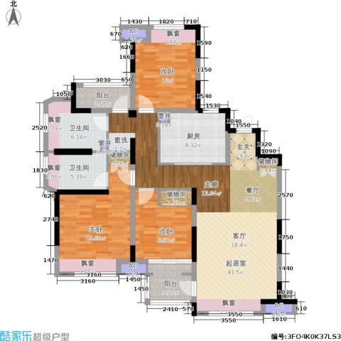 中建溪岸澜庭3室0厅2卫1厨126.00㎡户型图