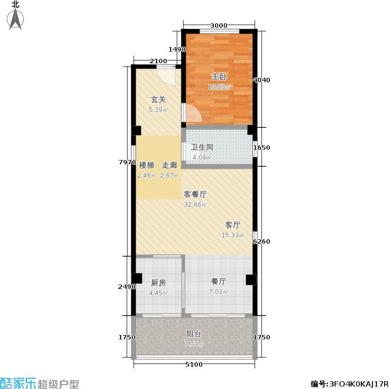 证大上海西镇60.00㎡C-1一层平面图户型