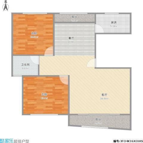 上大聚丰园一期2室1厅1卫1厨112.00㎡户型图