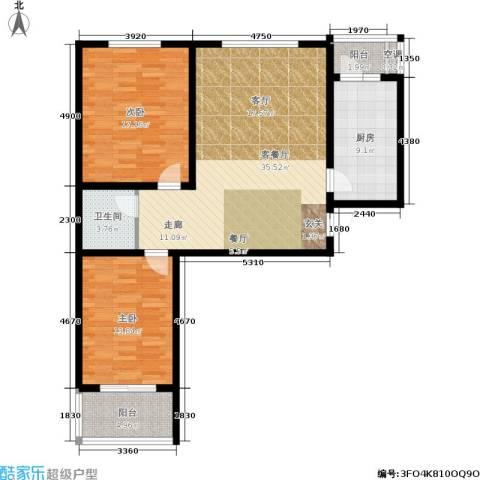 水木青城三期2室1厅1卫1厨98.00㎡户型图