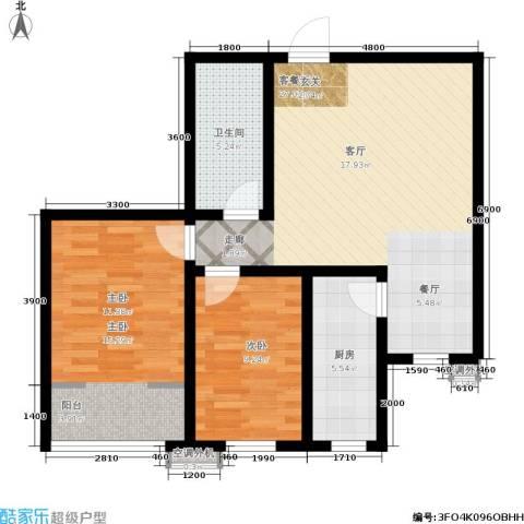 南岭小区2室1厅1卫1厨81.00㎡户型图