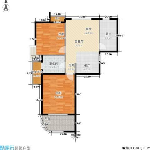 金铭文博水景2室1厅1卫1厨77.00㎡户型图