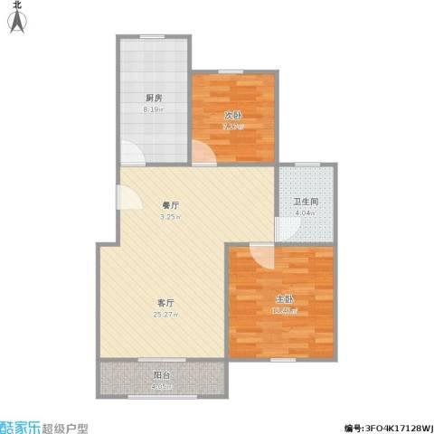 蓝色港湾别墅2室1厅1卫1厨81.00㎡户型图