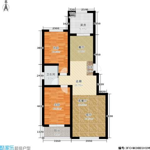 上城水岸2室1厅1卫1厨83.00㎡户型图