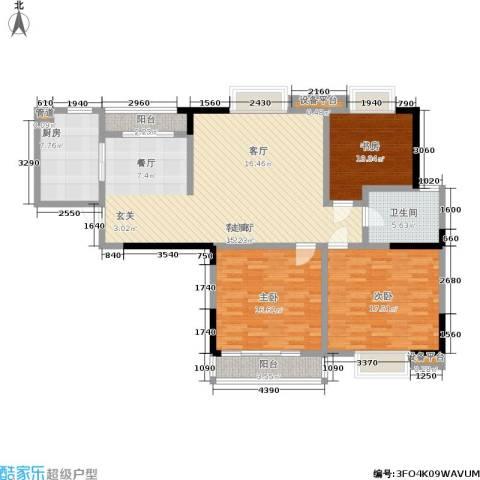 华都馨苑3室1厅1卫1厨122.22㎡户型图