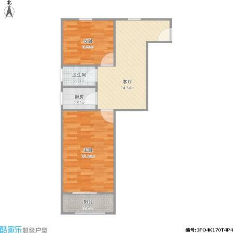 六里二村2室1厅1卫1厨63.00㎡户型图