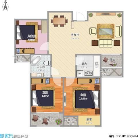 圣联香御公馆3室1厅1卫1厨102.00㎡户型图