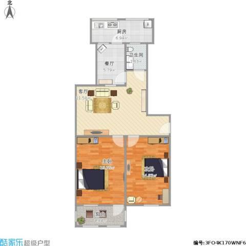 玉函路单位宿舍2室2厅1卫1厨99.00㎡户型图