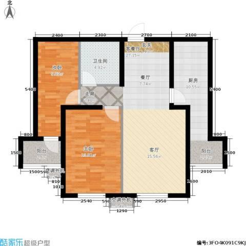 南岭小区2室1厅1卫1厨85.00㎡户型图