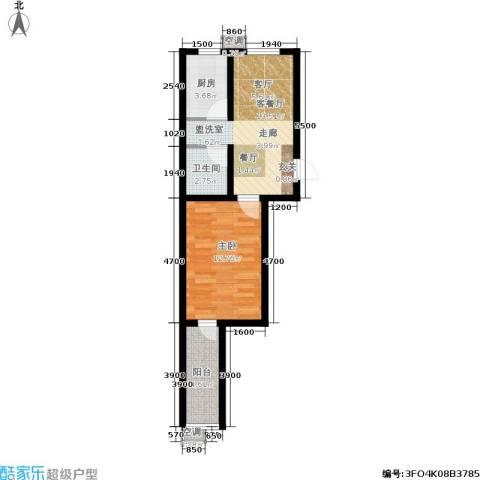 南岭小区1室1厅1卫1厨48.00㎡户型图