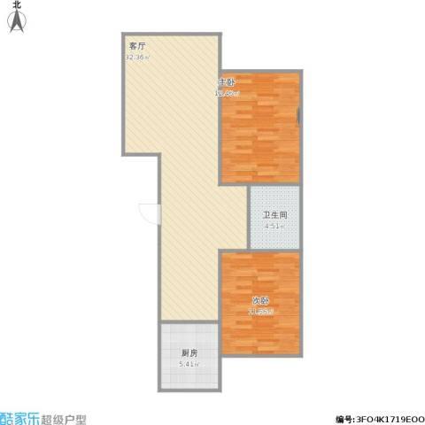 宏业枫华2室1厅1卫1厨89.00㎡户型图