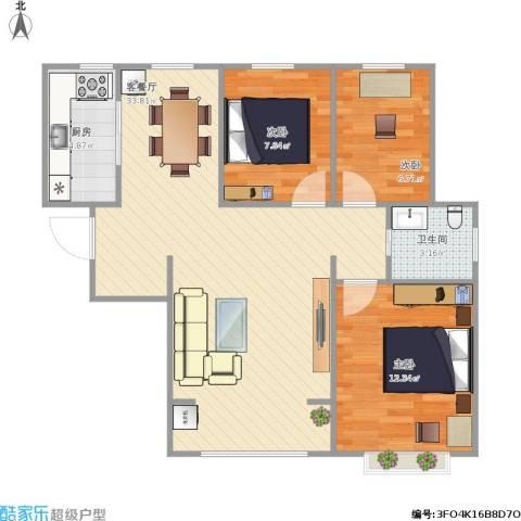 天洋翠堤湾3室1厅1卫1厨92.00㎡户型图