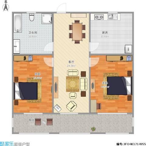 鸿建花园2室1厅1卫1厨125.00㎡户型图