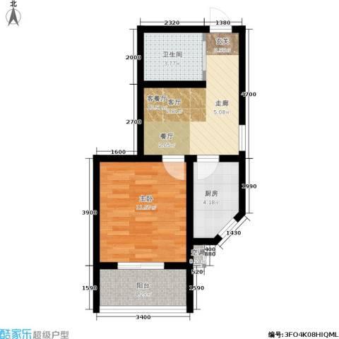南岭小区1室1厅1卫1厨47.00㎡户型图