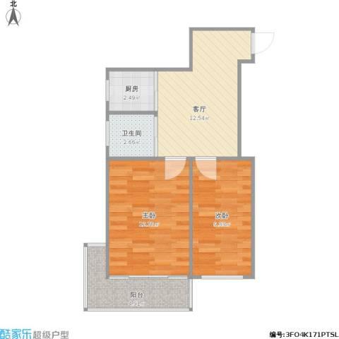 场门口小区2室1厅1卫1厨61.00㎡户型图