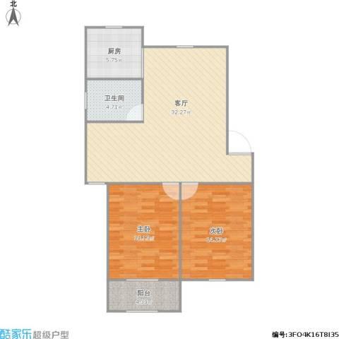 启园新村2室1厅1卫1厨100.00㎡户型图