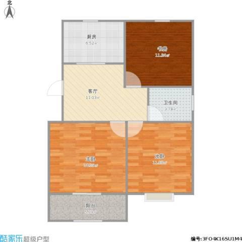 湖岸名家3室1厅1卫1厨85.00㎡户型图