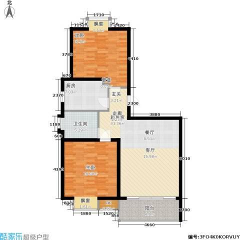 虹桥1号2室0厅1卫1厨91.00㎡户型图