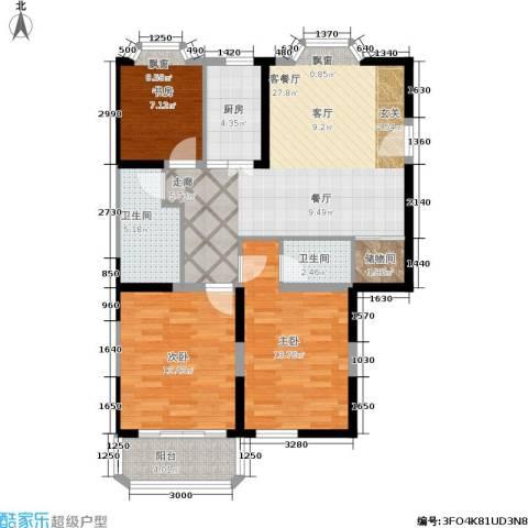 雯锦雅苑3室1厅2卫1厨91.00㎡户型图