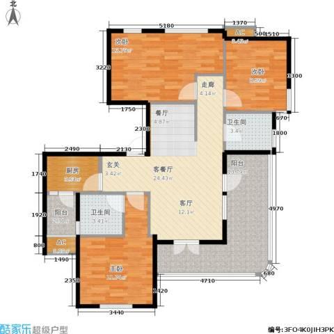 金铭文博水景3室1厅2卫1厨112.00㎡户型图