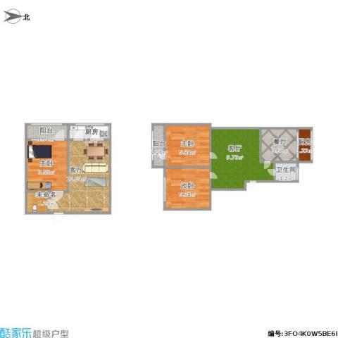 林东花园3室3厅1卫2厨71.00㎡户型图