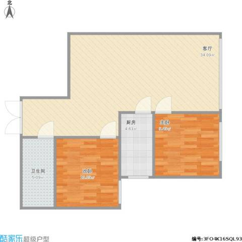 首创・象墅2室1厅1卫1厨85.00㎡户型图