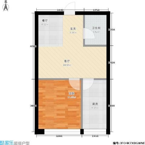 水木康桥一期1室1厅1卫1厨56.00㎡户型图