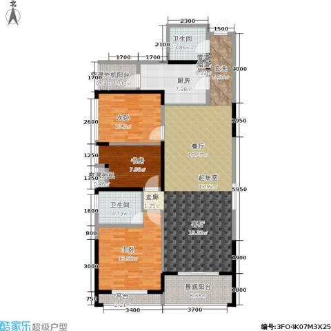 阳光100国际新城3室0厅2卫1厨117.25㎡户型图