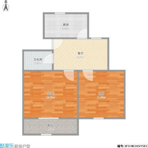龙柏四村2室1厅1卫1厨65.00㎡户型图