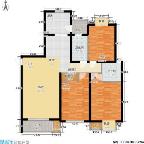 虹桥1号3室0厅2卫1厨136.00㎡户型图