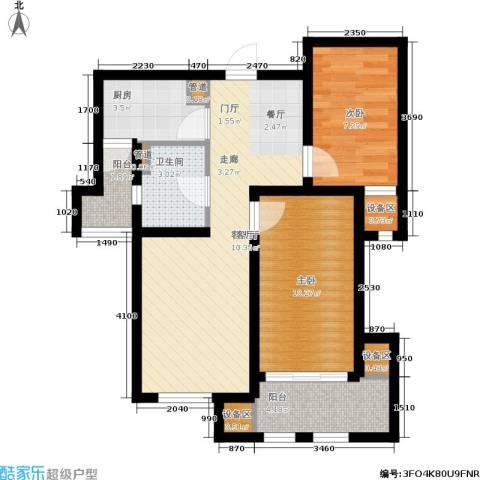 上郡2室1厅1卫1厨60.00㎡户型图