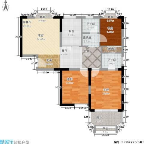 雯锦雅苑3室1厅2卫1厨86.00㎡户型图