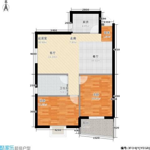 银通丽水天成2室0厅1卫1厨83.00㎡户型图