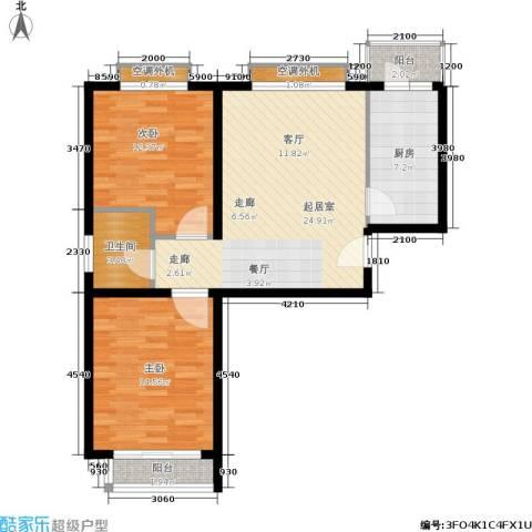 时尚街区东区2室0厅1卫1厨85.00㎡户型图