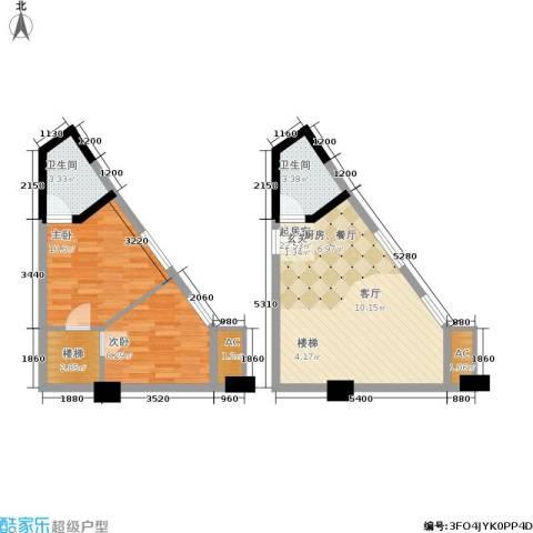 中民长青里2室0厅2卫0厨53.24㎡户型图