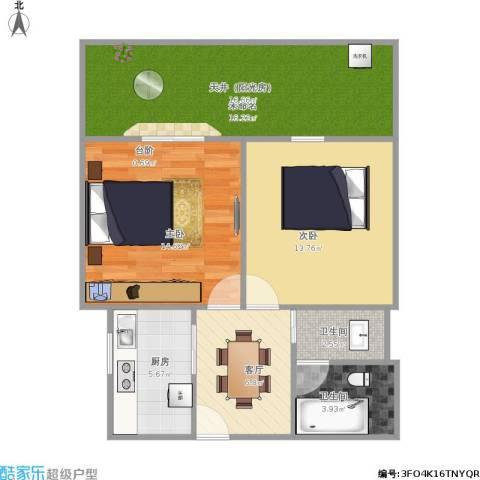 解放新村2室1厅2卫1厨86.00㎡户型图