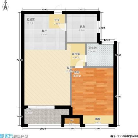中建公元壹号1室0厅1卫1厨58.00㎡户型图