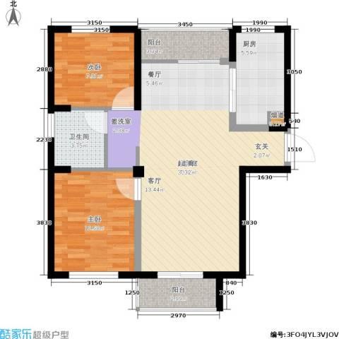 华茂品江2室0厅1卫1厨92.00㎡户型图